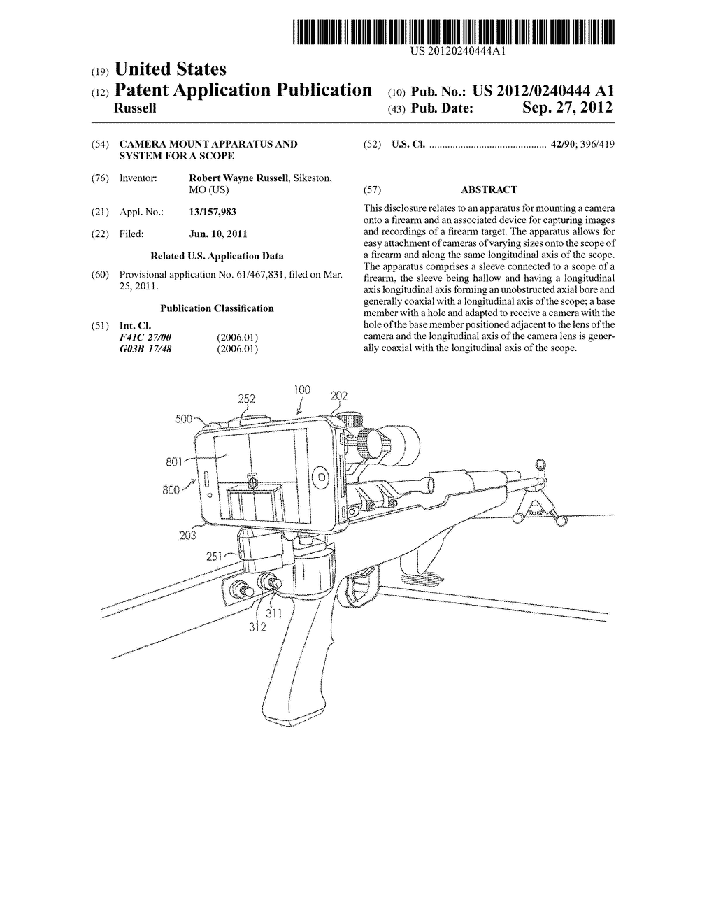 Camera Mount Apparatus and System for a Scope - diagram, schematic, and image 01