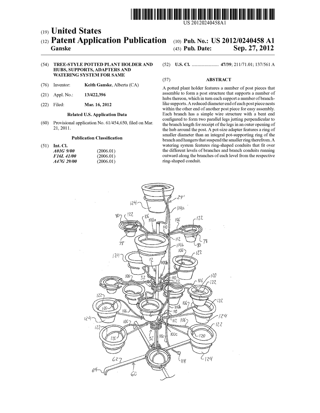 Tree-Style Potted Plant Holder and Hubs, Supports, Adapters and Watering     System for Same - diagram, schematic, and image 01