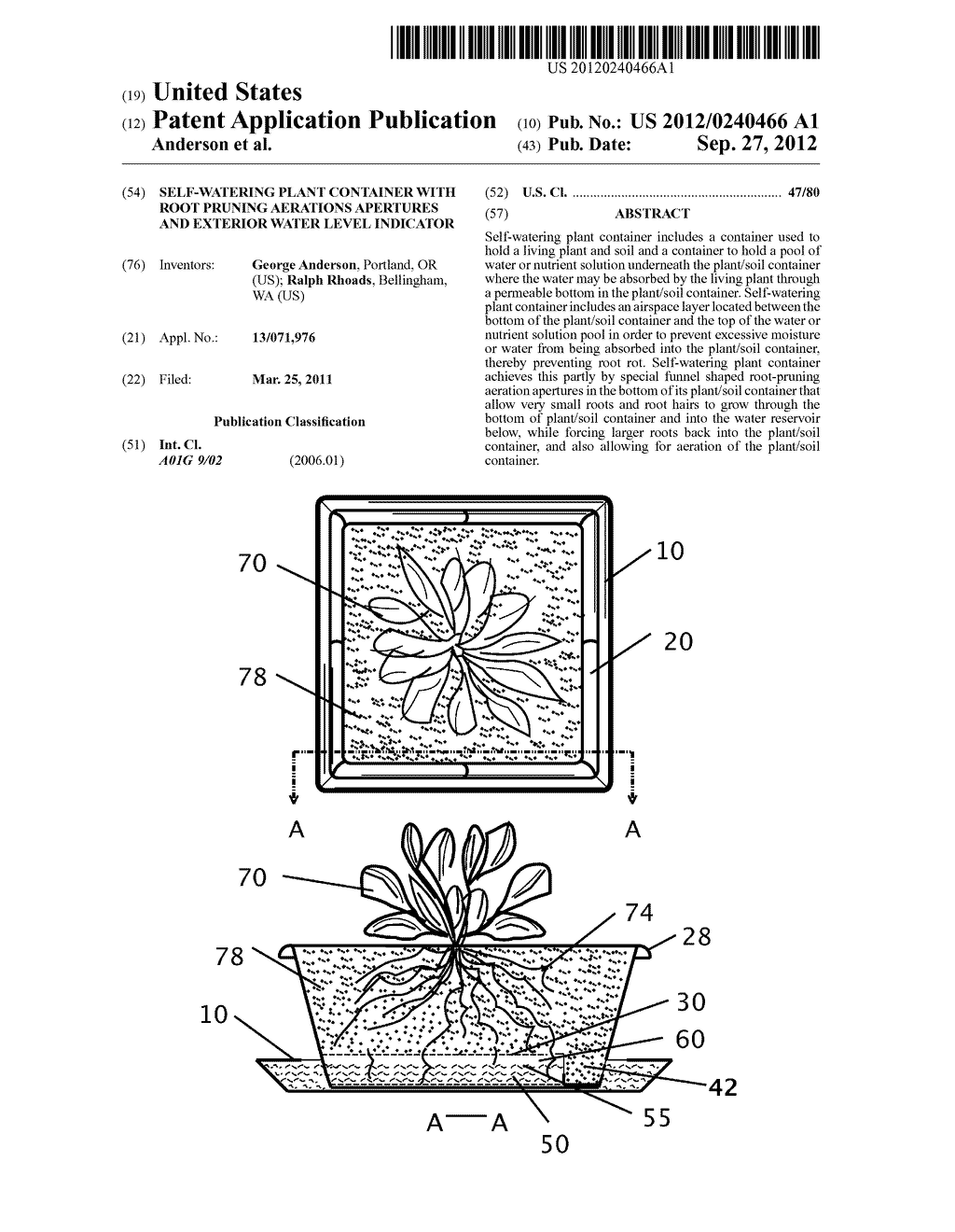 SELF-WATERING PLANT CONTAINER WITH ROOT PRUNING AERATIONS APERTURES AND     EXTERIOR WATER LEVEL INDICATOR - diagram, schematic, and image 01