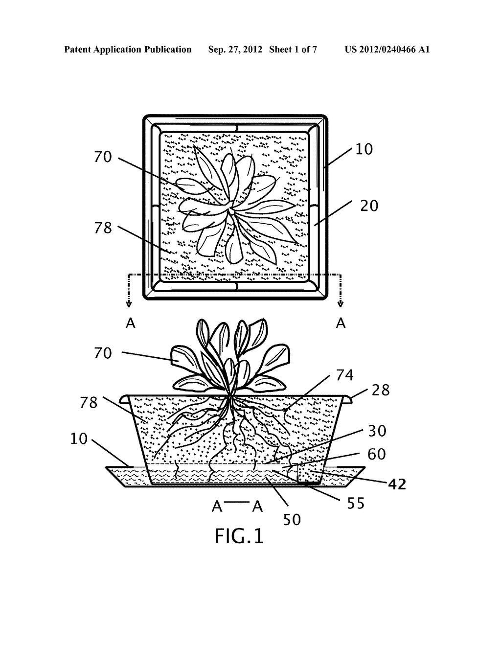 SELF-WATERING PLANT CONTAINER WITH ROOT PRUNING AERATIONS APERTURES AND     EXTERIOR WATER LEVEL INDICATOR - diagram, schematic, and image 02