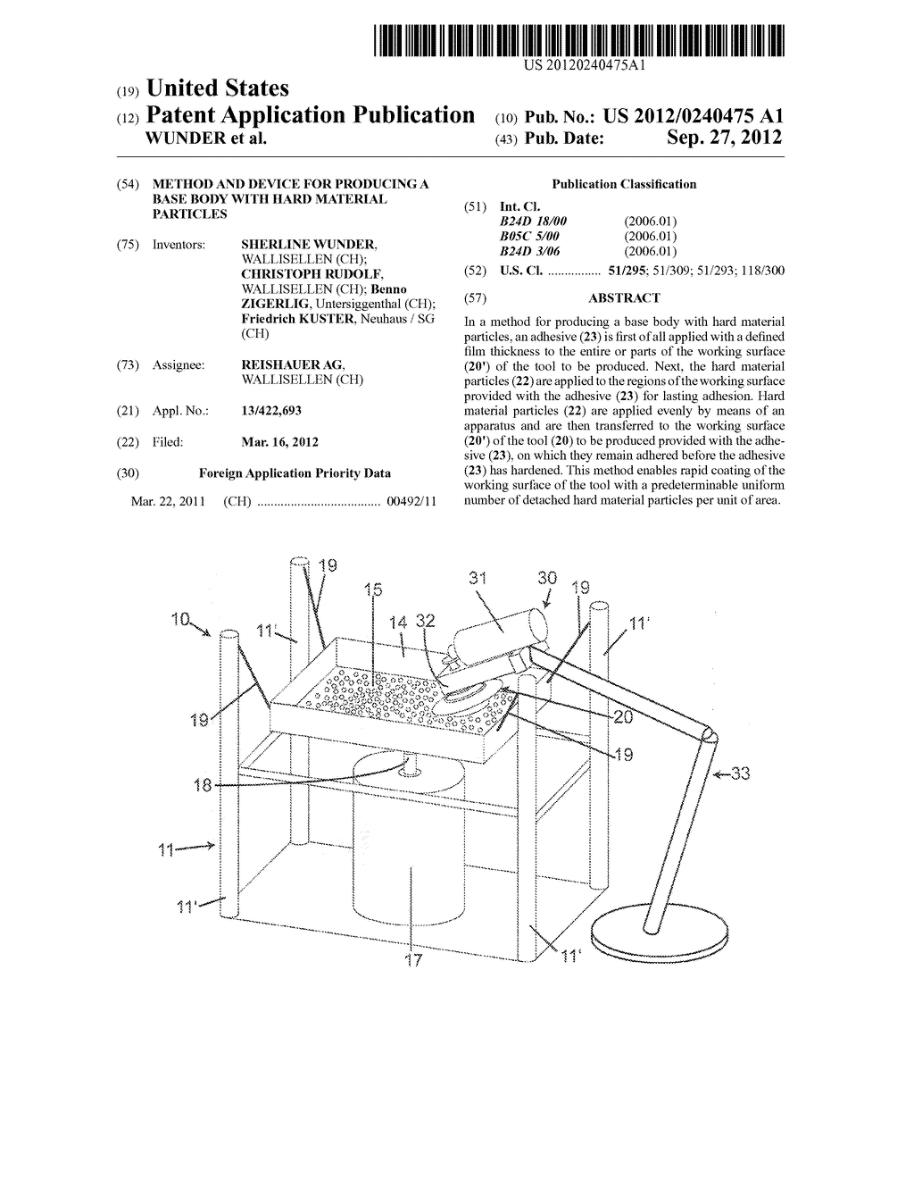 METHOD AND DEVICE FOR PRODUCING A BASE BODY WITH HARD MATERIAL PARTICLES - diagram, schematic, and image 01