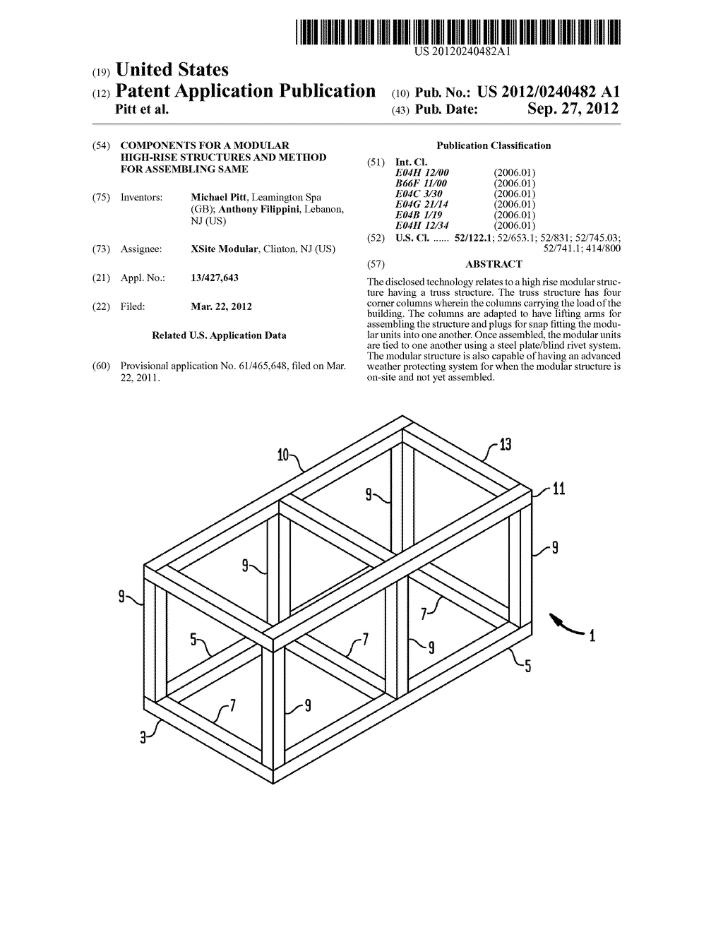Components for a Modular High-Rise Structures And Method For Assembling     Same - diagram, schematic, and image 01