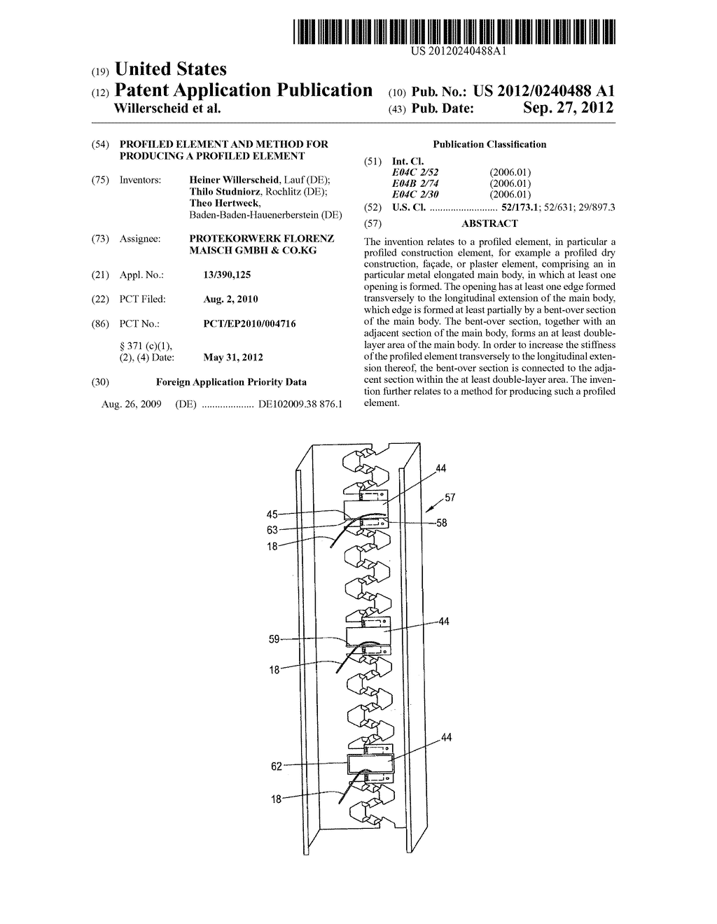 PROFILED ELEMENT AND METHOD FOR PRODUCING A PROFILED ELEMENT - diagram, schematic, and image 01