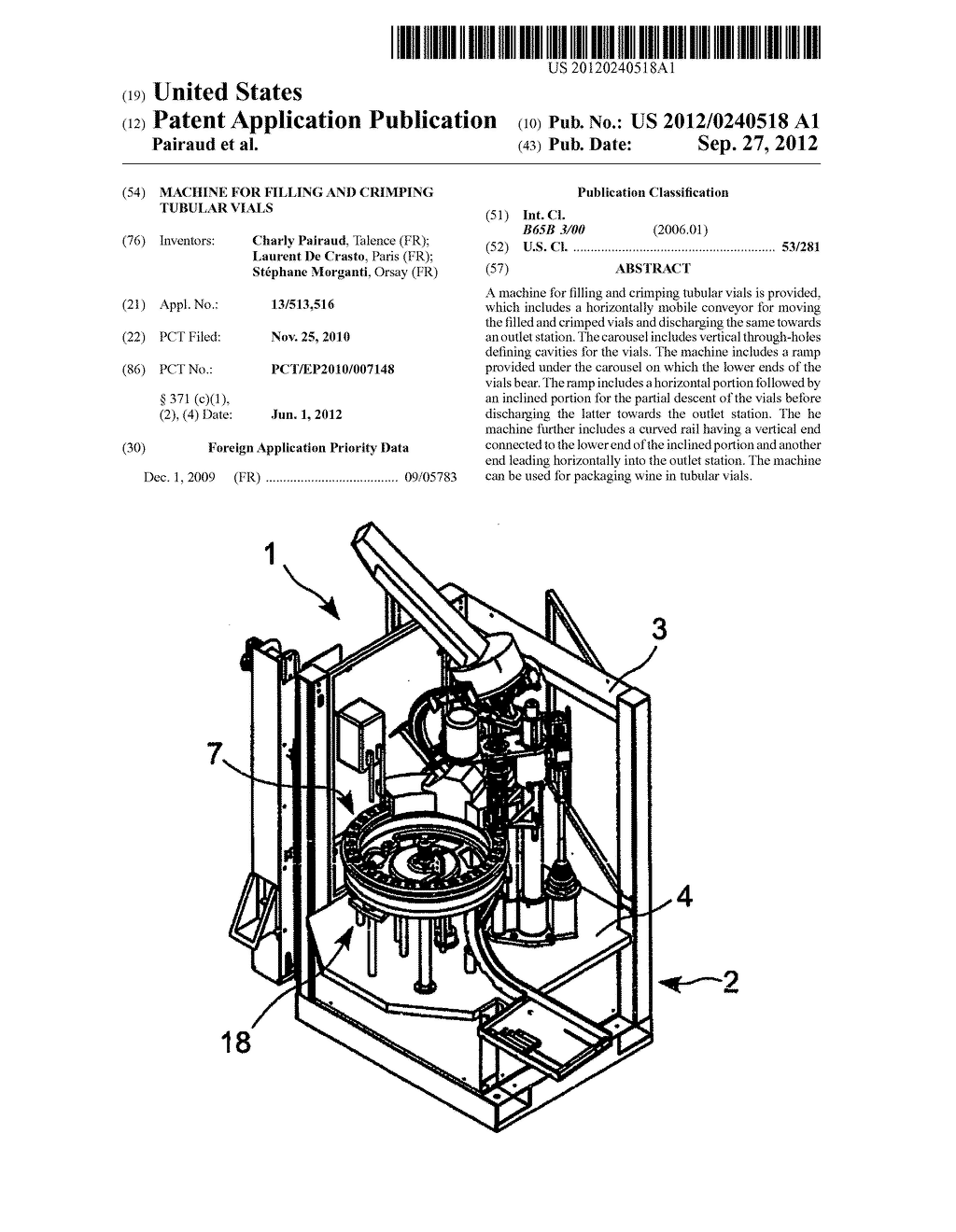 MACHINE FOR FILLING AND CRIMPING TUBULAR VIALS - diagram, schematic, and image 01
