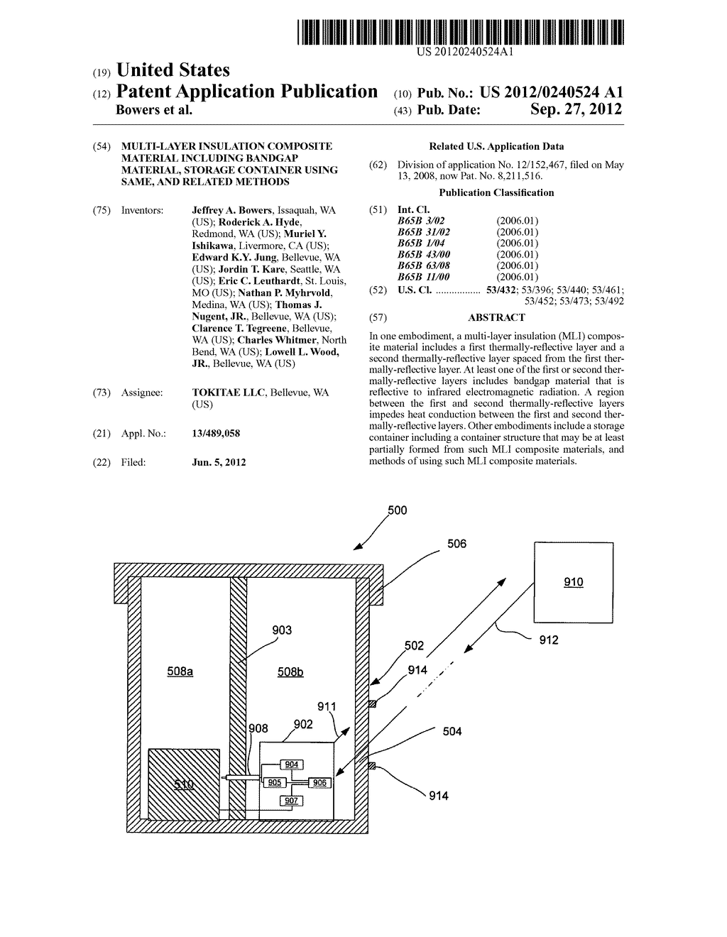 MULTI-LAYER INSULATION COMPOSITE MATERIAL INCLUDING BANDGAP MATERIAL,     STORAGE CONTAINER USING SAME, AND RELATED METHODS - diagram, schematic, and image 01