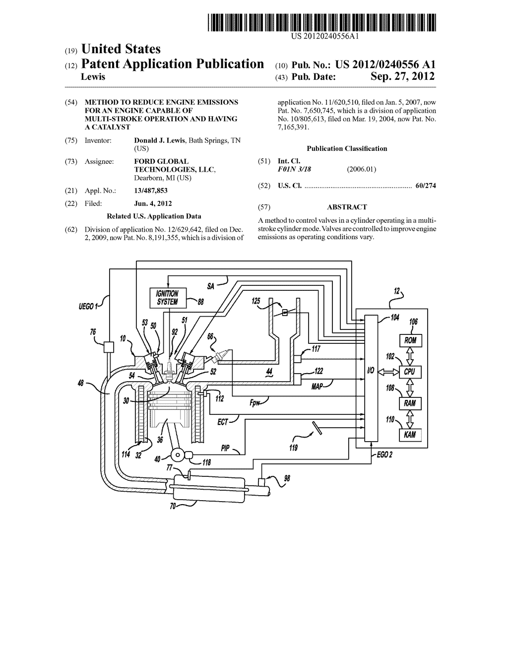 METHOD TO REDUCE ENGINE EMISSIONS FOR AN ENGINE CAPABLE OF MULTI-STROKE     OPERATION AND HAVING A CATALYST - diagram, schematic, and image 01
