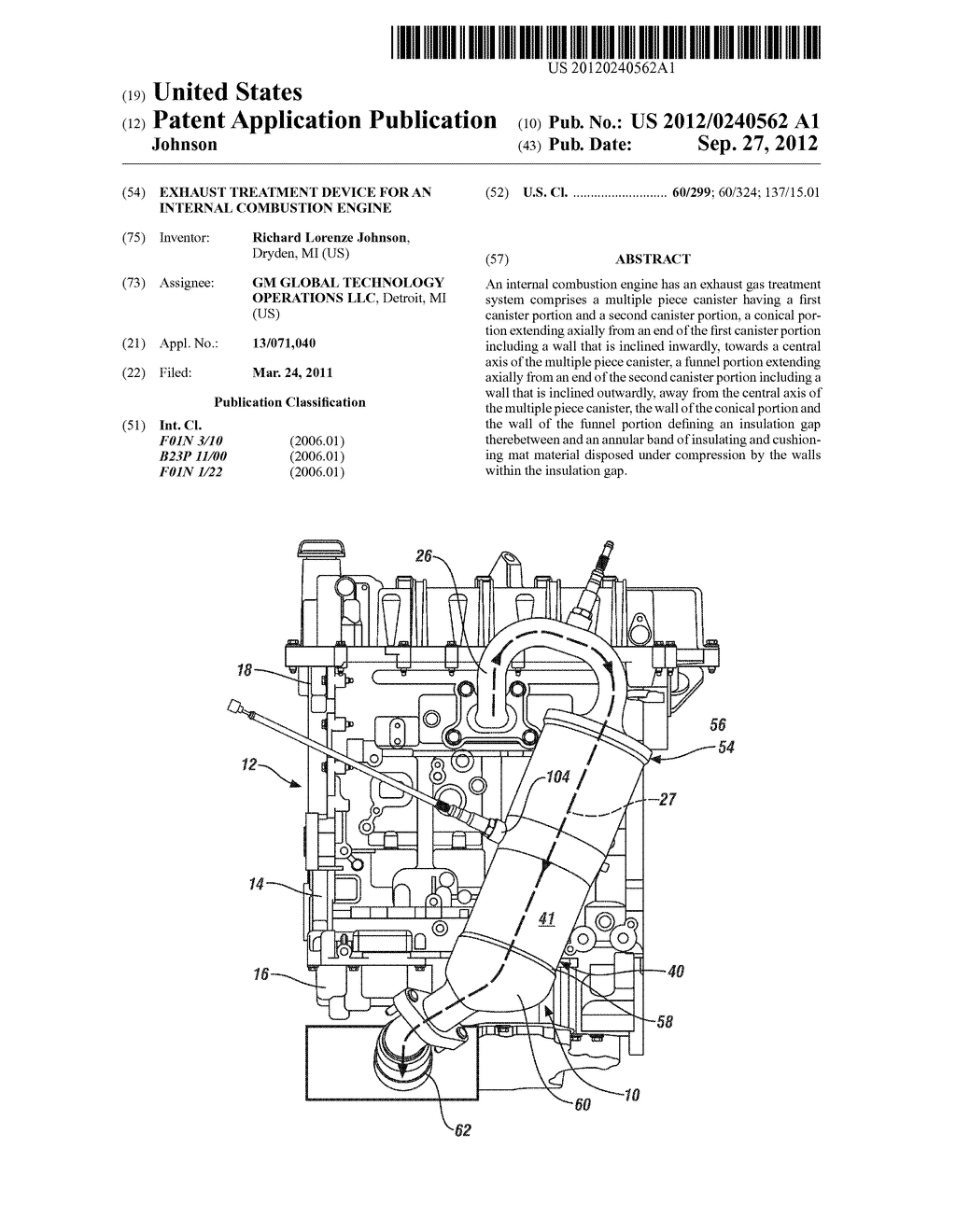 Exhaust Treatment Device for an Internal Combustion Engine - diagram, schematic, and image 01