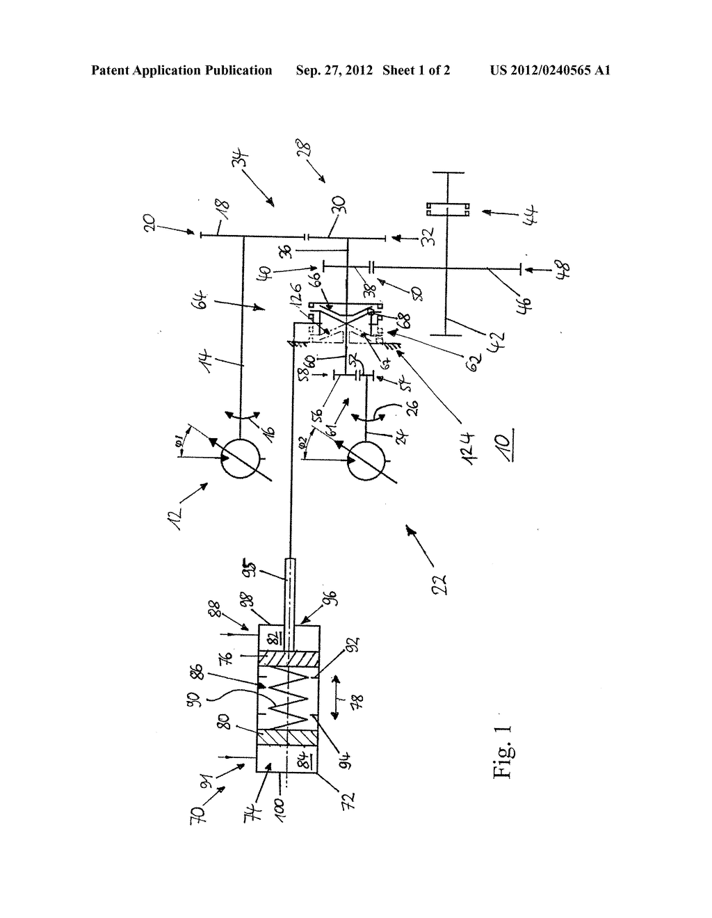 SHIFT CYLINDER, DRIVE DEVICE, WORK MACHINE AS WELL AS METHOD FOR OPERATING     A WORK MACHINE - diagram, schematic, and image 02