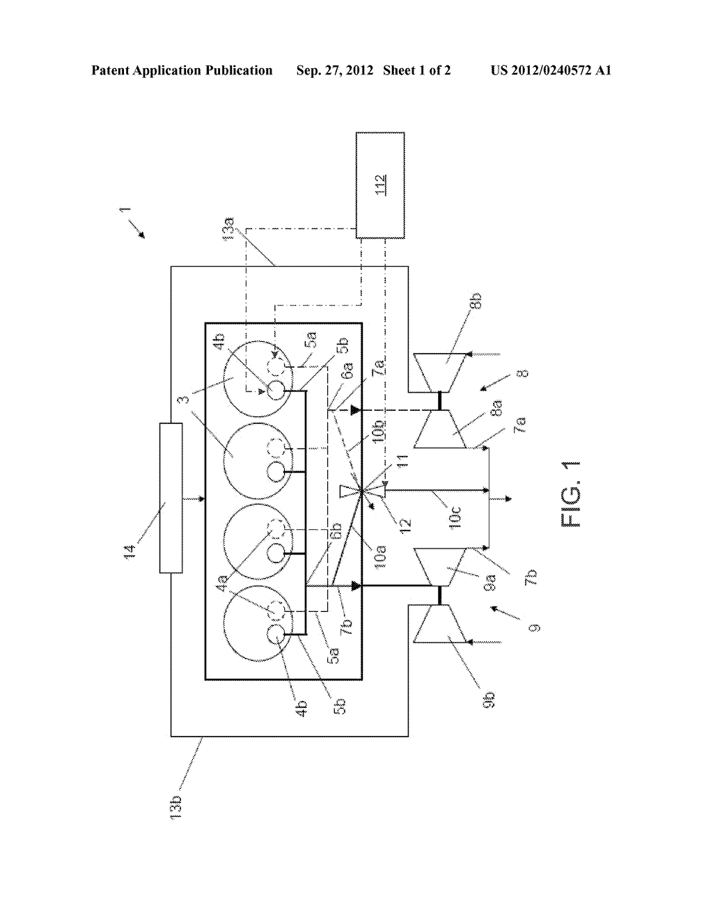 INTERNAL COMBUSTION ENGINE EQUIPPED WITH WASTEGATE TURBINES, AND METHOD     FOR OPERATING AN INTERNAL COMBUSTION ENGINE OF SAID TYPE - diagram, schematic, and image 02