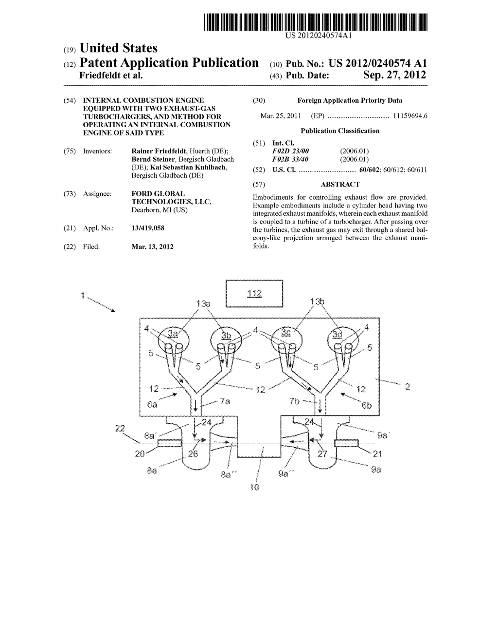 INTERNAL COMBUSTION ENGINE EQUIPPED WITH TWO EXHAUST-GAS TURBOCHARGERS,     AND METHOD FOR OPERATING AN INTERNAL COMBUSTION ENGINE OF SAID TYPE - diagram, schematic, and image 01