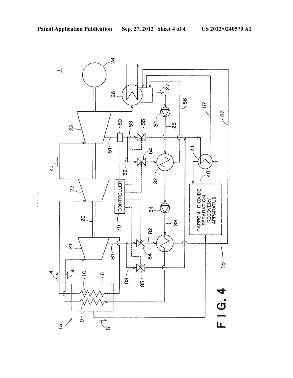 CARBON-DIOXIDE-RECOVERY-TYPE THERMAL POWER GENERATION SYSTEM AND METHOD OF     OPERATING THE SAME - diagram, schematic, and image 05