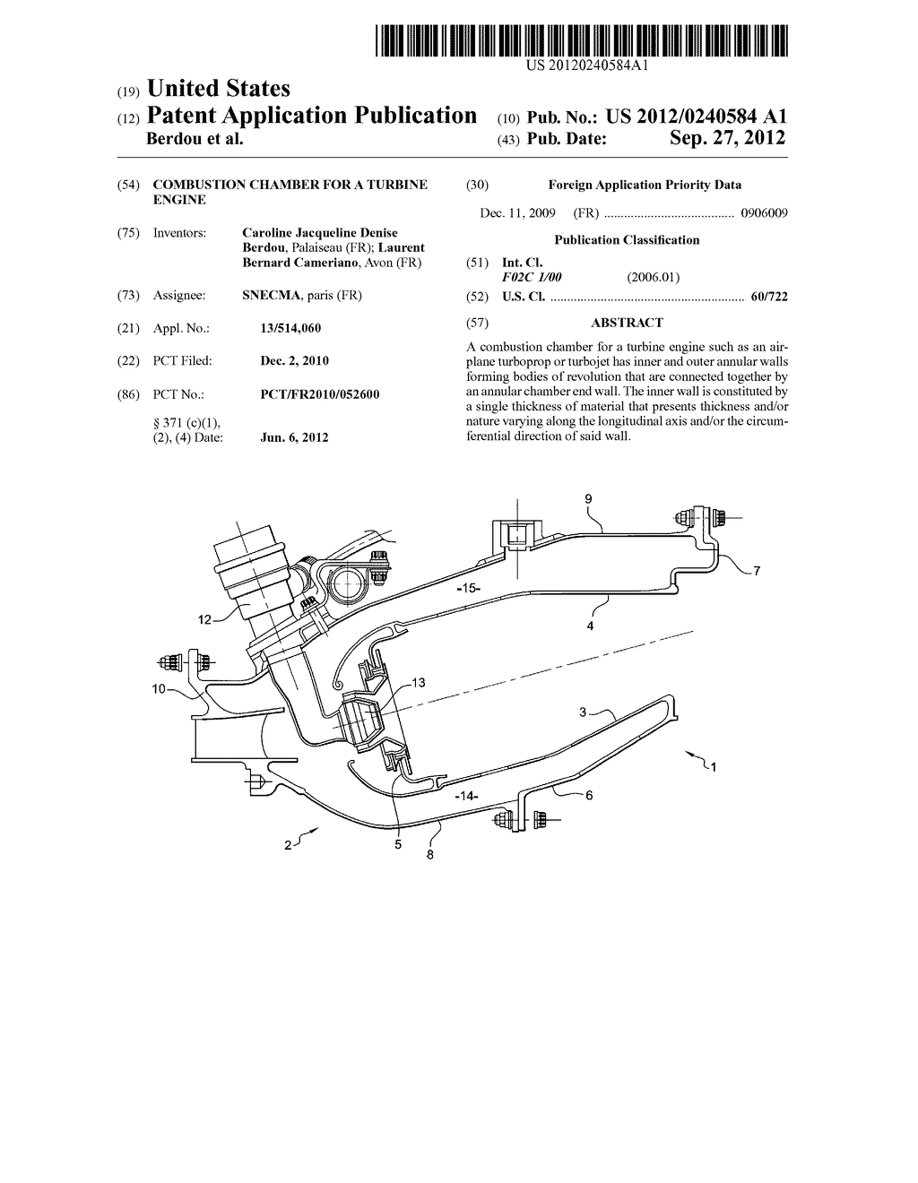 COMBUSTION CHAMBER FOR A TURBINE ENGINE - diagram, schematic, and image 01