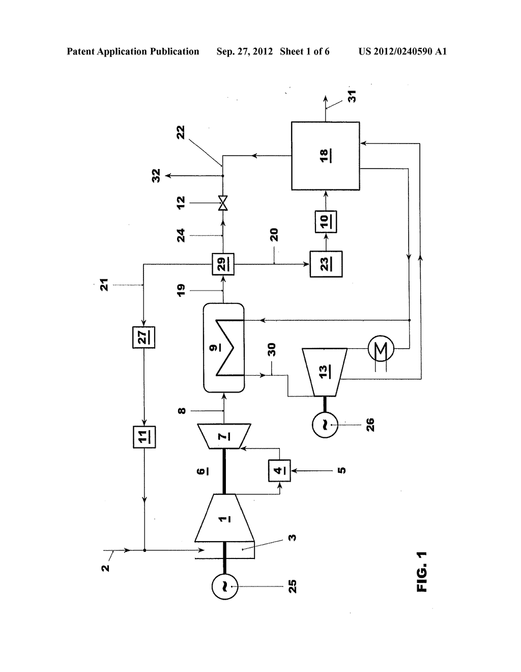 GAS TURBINE POWER PLANT WITH FLUE GAS RECIRCULATION AND OXYGEN-DEPLETED     COOLING GAS - diagram, schematic, and image 02