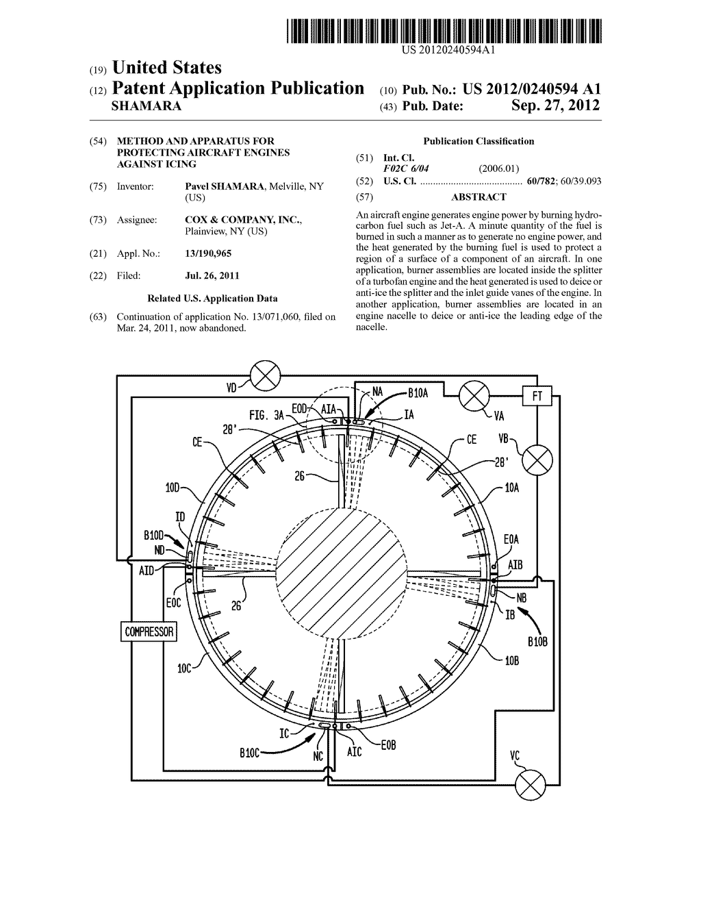 METHOD AND APPARATUS FOR PROTECTING AIRCRAFT ENGINES AGAINST ICING - diagram, schematic, and image 01