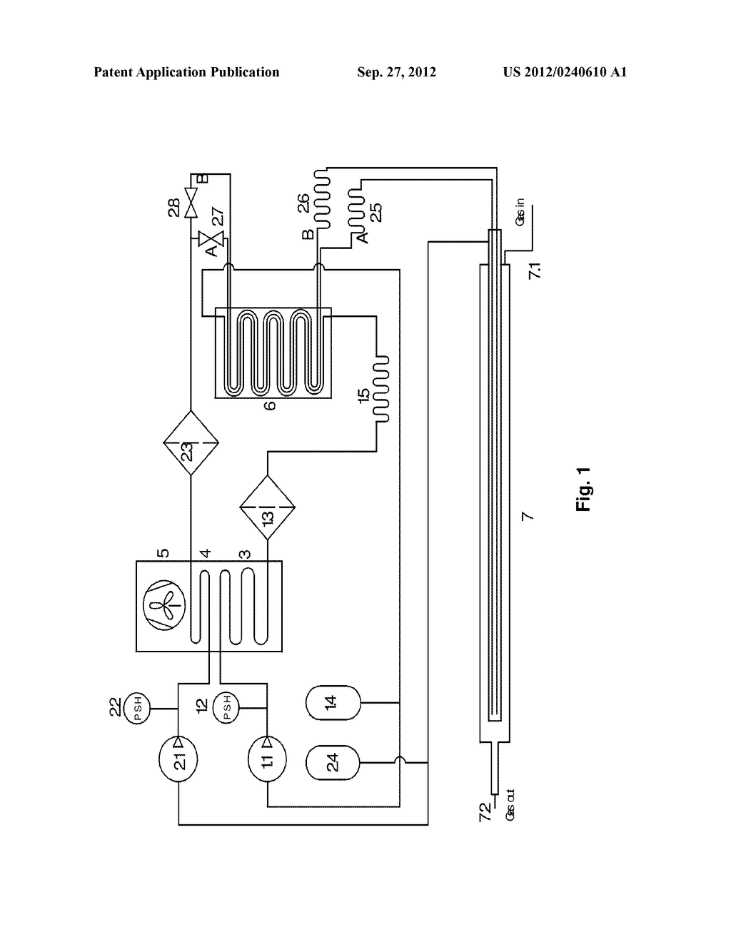 Cooling device with controllable evaporation temperature - diagram, schematic, and image 02