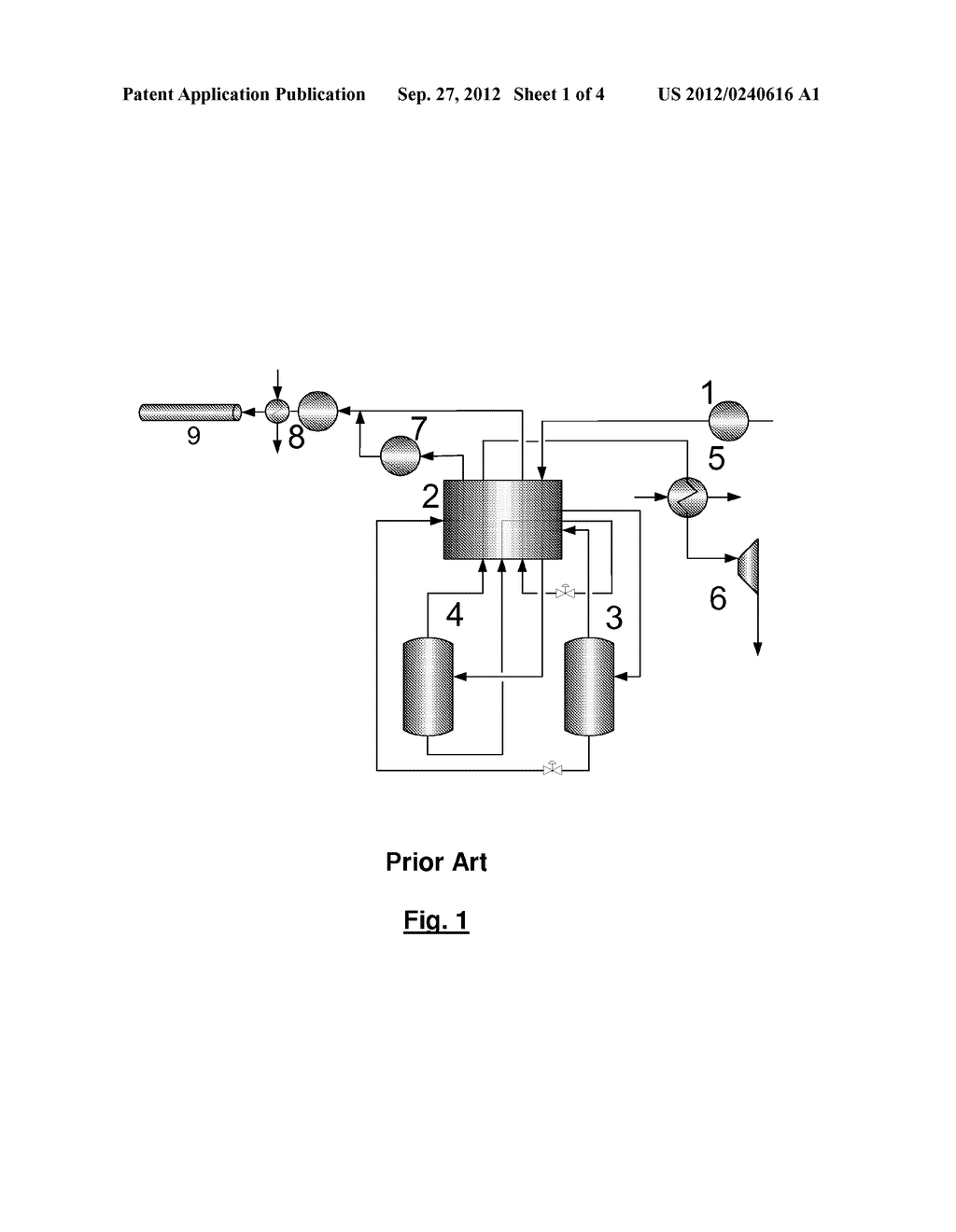 METHOD AND DEVICE FOR TREATING A CARBON DIOXIDE-CONTAINING GAS STREAM - diagram, schematic, and image 02