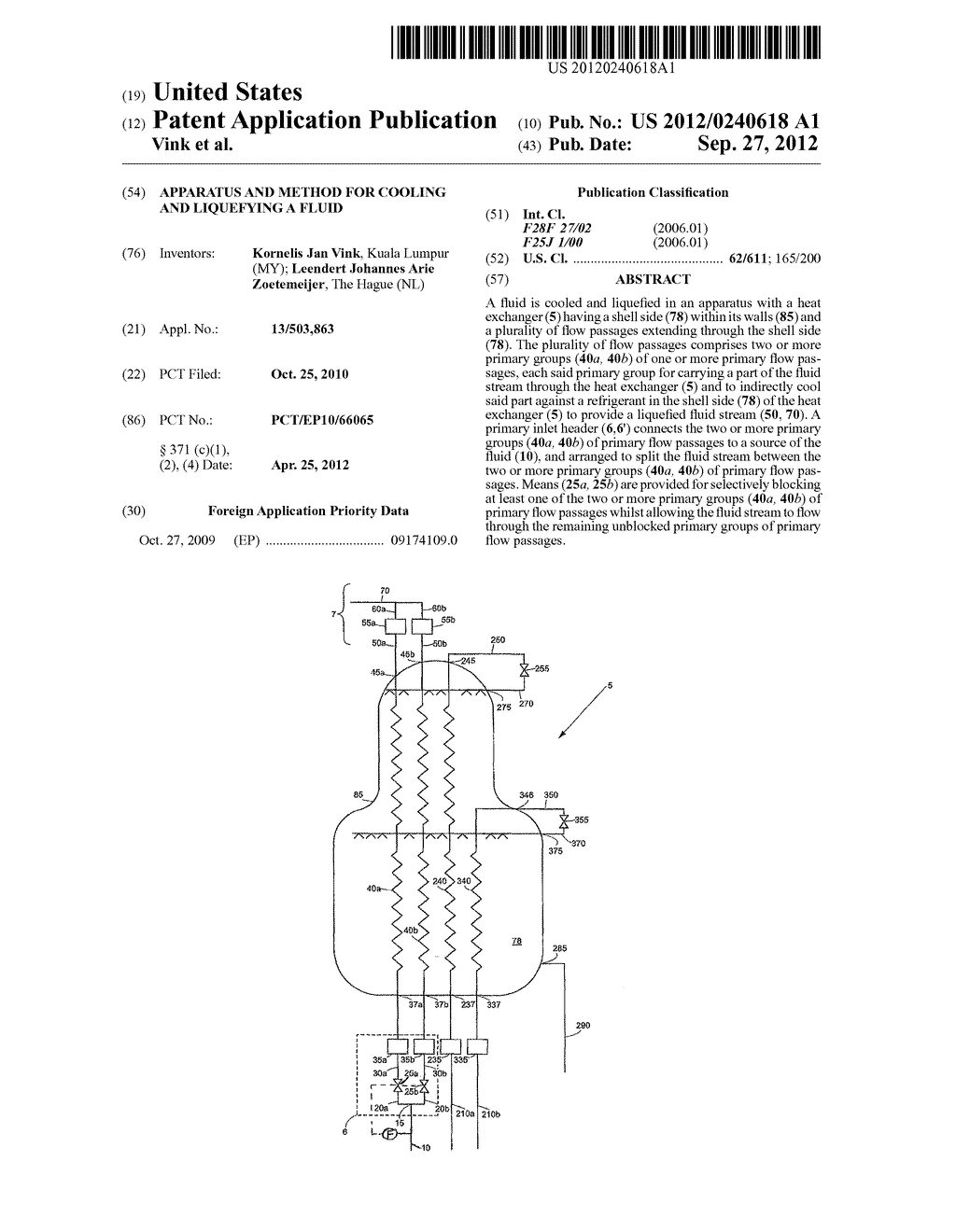 APPARATUS AND METHOD FOR COOLING AND LIQUEFYING A FLUID - diagram, schematic, and image 01