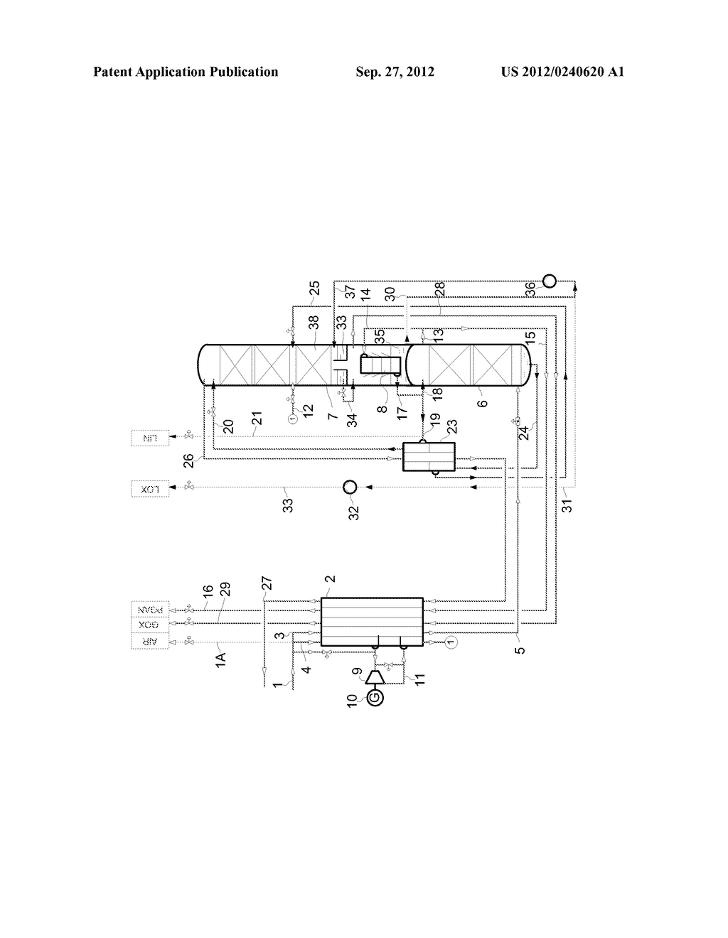 METHOD AND DEVICE FOR GENERATING AN OXYGEN PRODUCT BY LOW-TEMPERATURE     SEPARATION OF AIR - diagram, schematic, and image 02