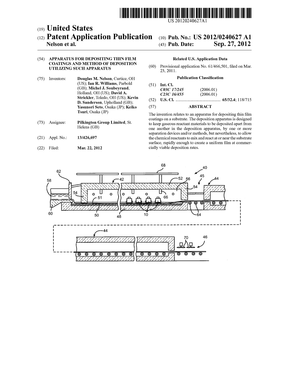 APPARATUS FOR DEPOSITING THIN FILM COATINGS AND METHOD OF DEPOSITION     UTILIZING SUCH APPARATUS - diagram, schematic, and image 01