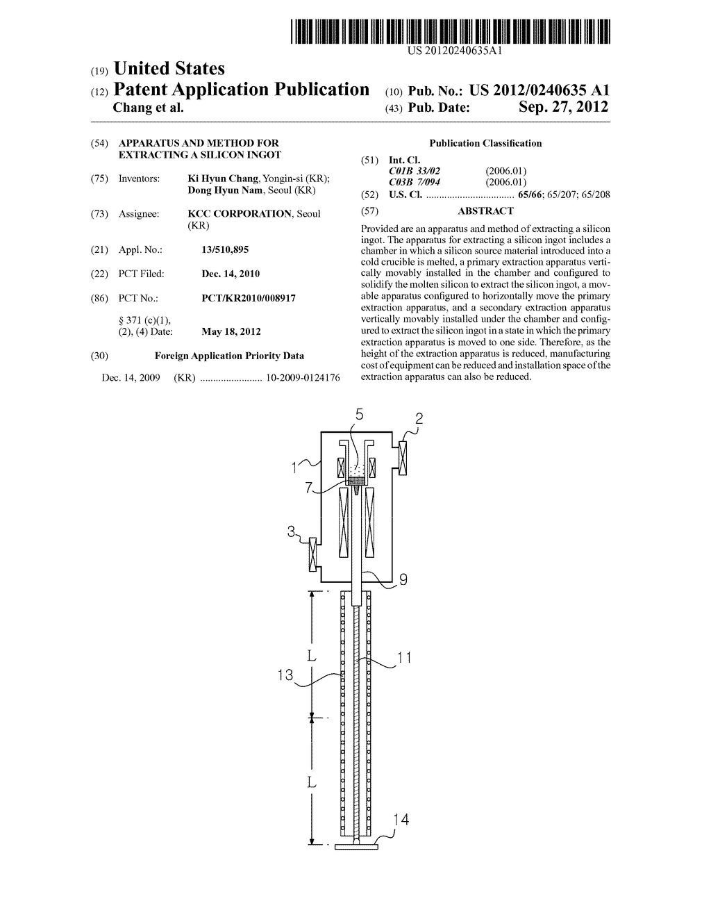 APPARATUS AND METHOD FOR EXTRACTING A SILICON INGOT - diagram, schematic, and image 01
