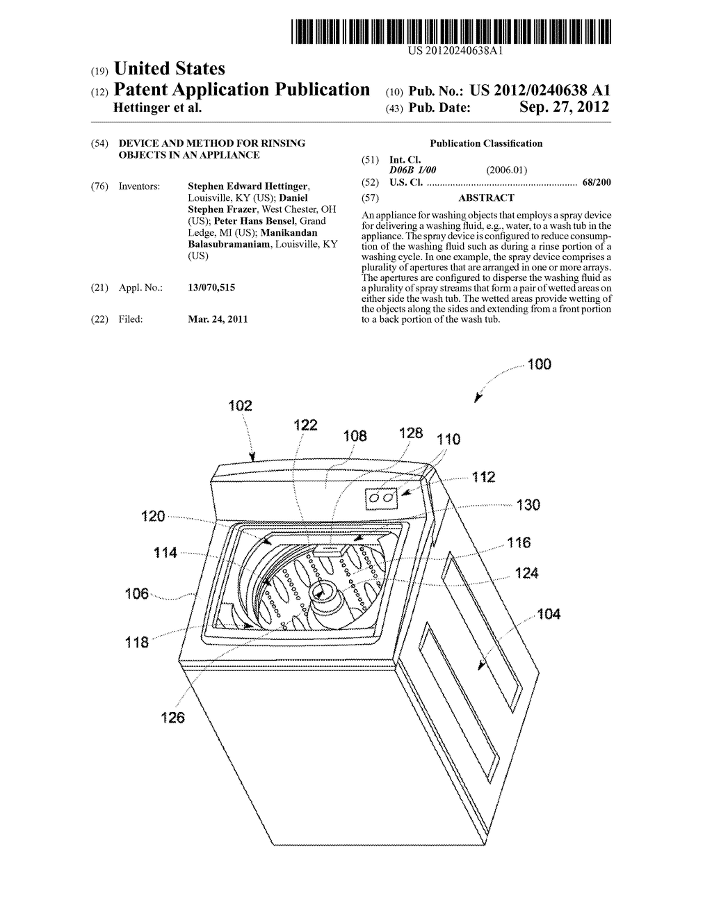 DEVICE AND METHOD FOR RINSING OBJECTS IN AN APPLIANCE - diagram, schematic, and image 01