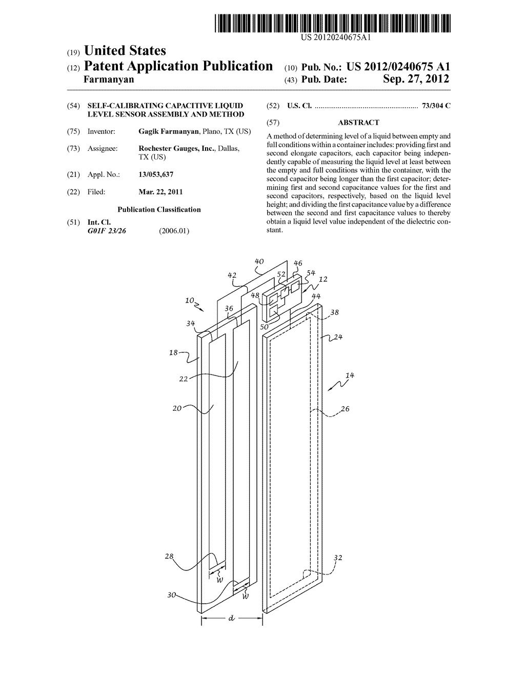 Self-Calibrating Capacitive Liquid Level Sensor Assembly and Method - diagram, schematic, and image 01