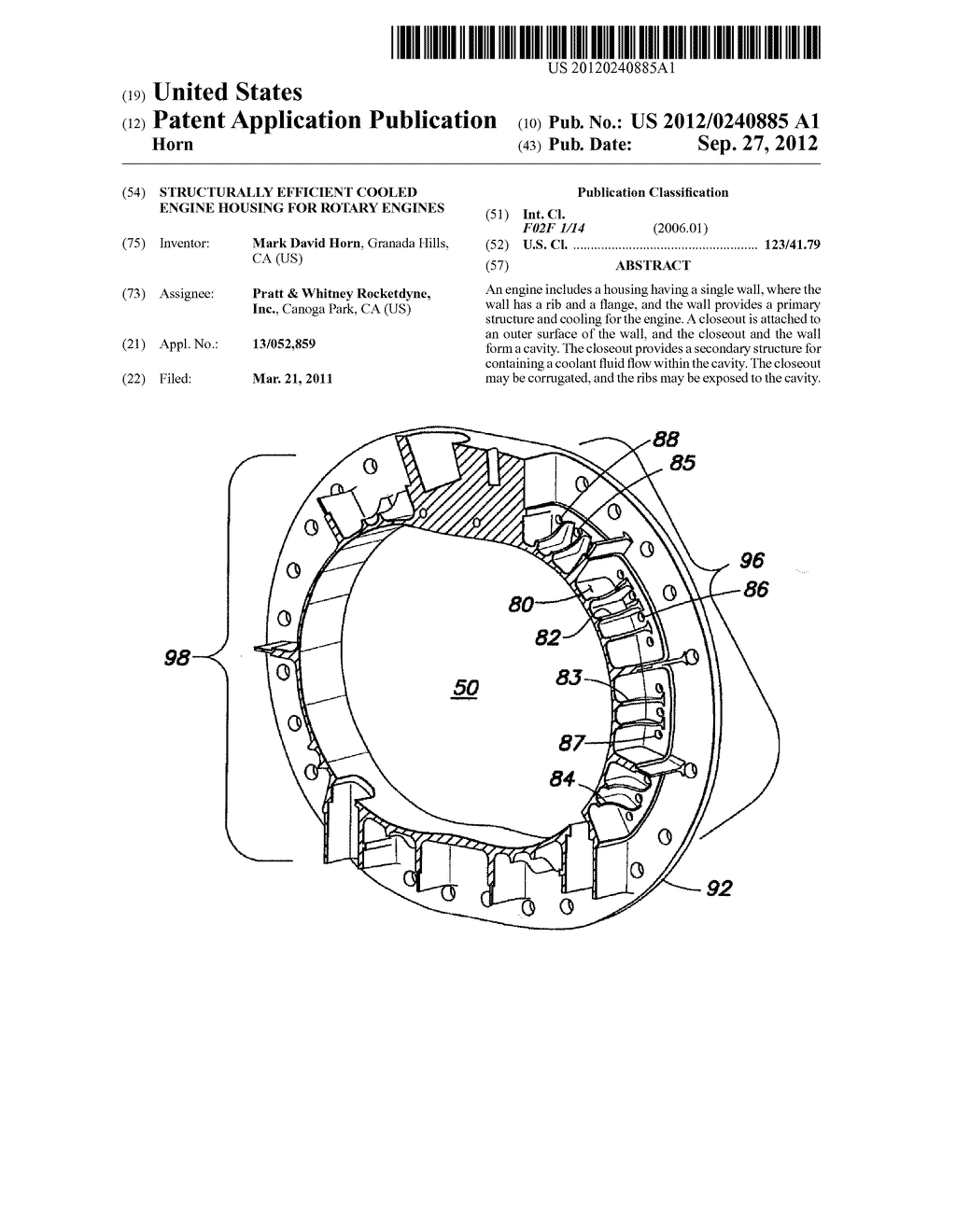 STRUCTURALLY EFFICIENT COOLED ENGINE HOUSING FOR ROTARY ENGINES - diagram,  schematic, and image 01