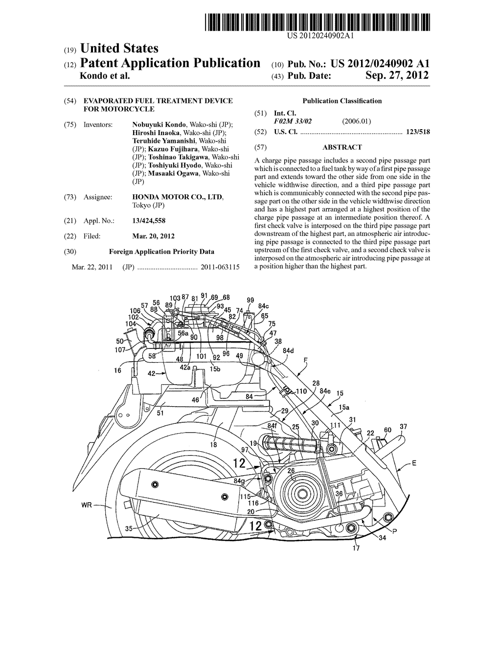 EVAPORATED FUEL TREATMENT DEVICE FOR MOTORCYCLE - diagram, schematic, and image 01
