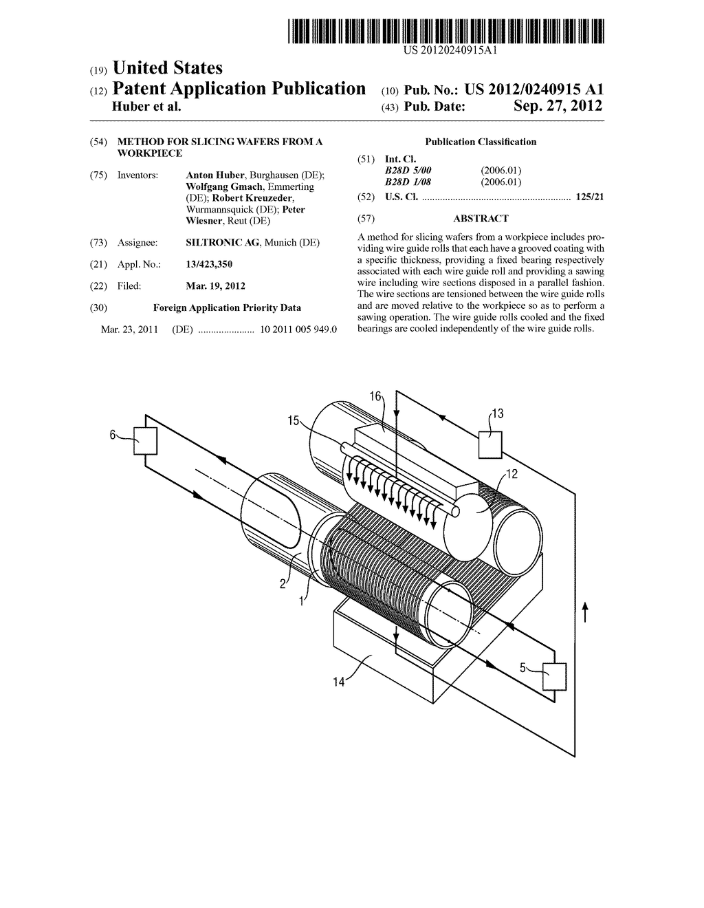 METHOD FOR SLICING WAFERS FROM A WORKPIECE - diagram, schematic, and image 01