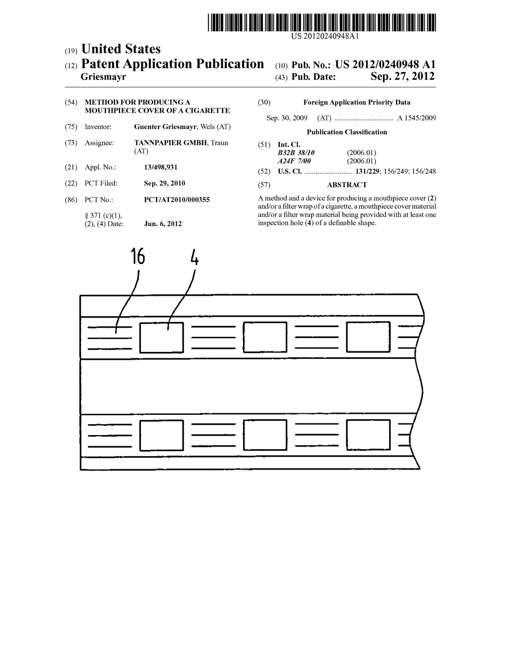 METHOD FOR PRODUCING A MOUTHPIECE COVER OF A CIGARETTE - diagram, schematic, and image 01