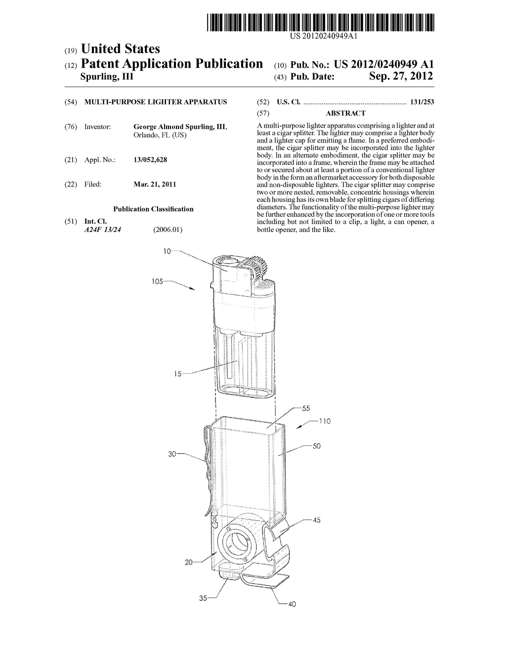 Multi-Purpose Lighter Apparatus - diagram, schematic, and image 01