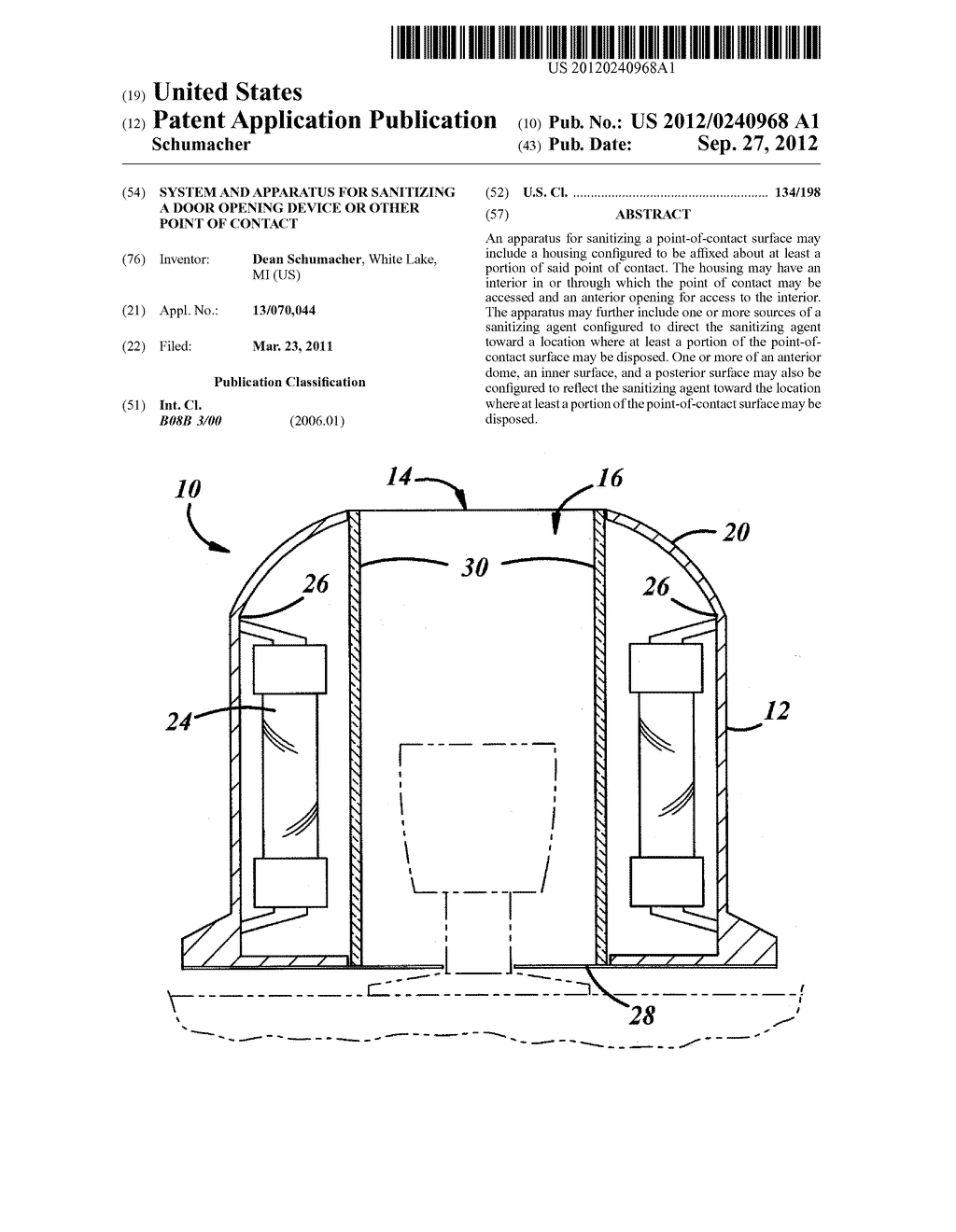 SYSTEM AND APPARATUS FOR SANITIZING A DOOR OPENING DEVICE OR OTHER POINT     OF CONTACT - diagram, schematic, and image 01