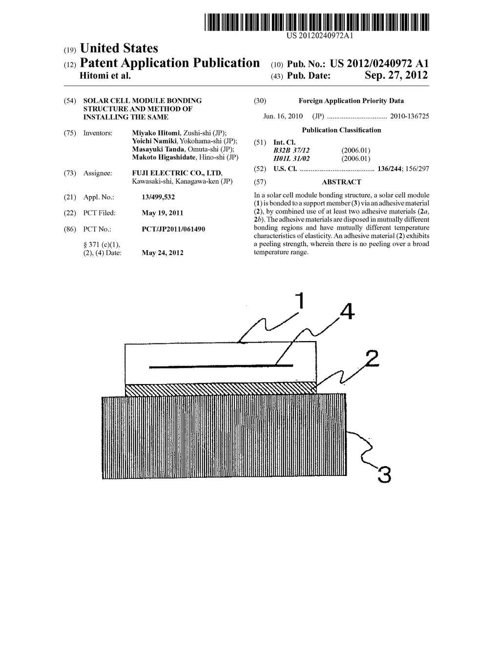 SOLAR CELL MODULE BONDING STRUCTURE AND METHOD OF INSTALLING THE SAME - diagram, schematic, and image 01