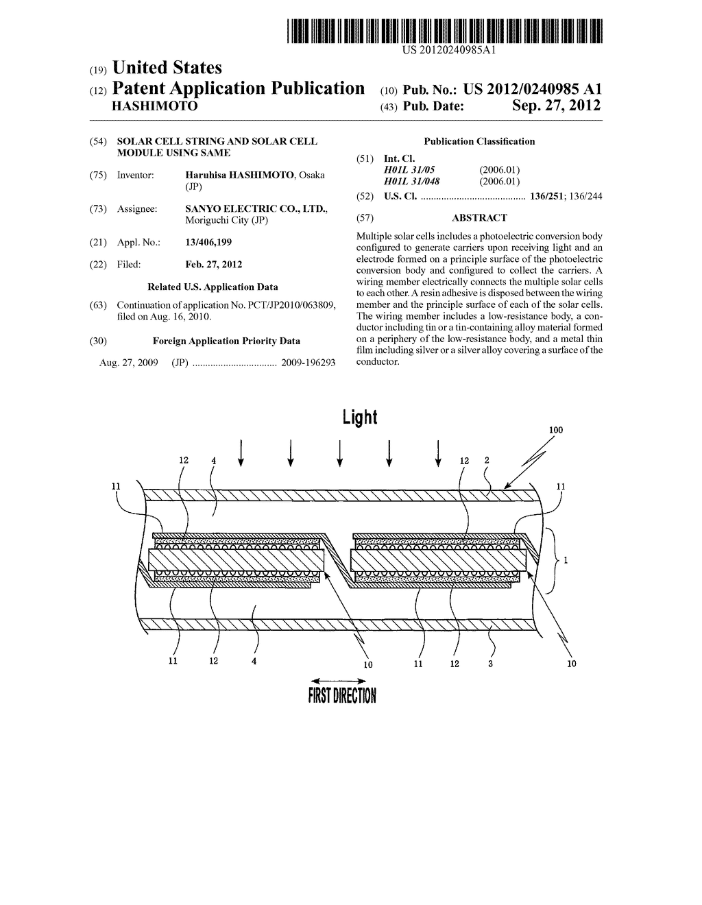 SOLAR CELL STRING AND SOLAR CELL MODULE USING SAME - diagram, schematic, and image 01
