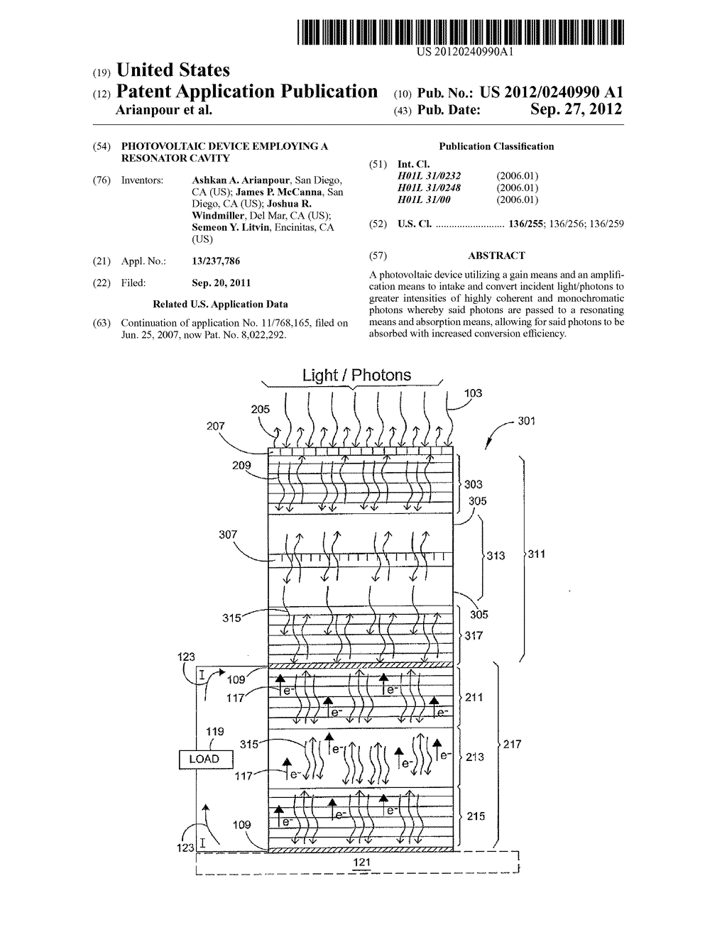 PHOTOVOLTAIC DEVICE EMPLOYING A RESONATOR CAVITY - diagram, schematic, and image 01
