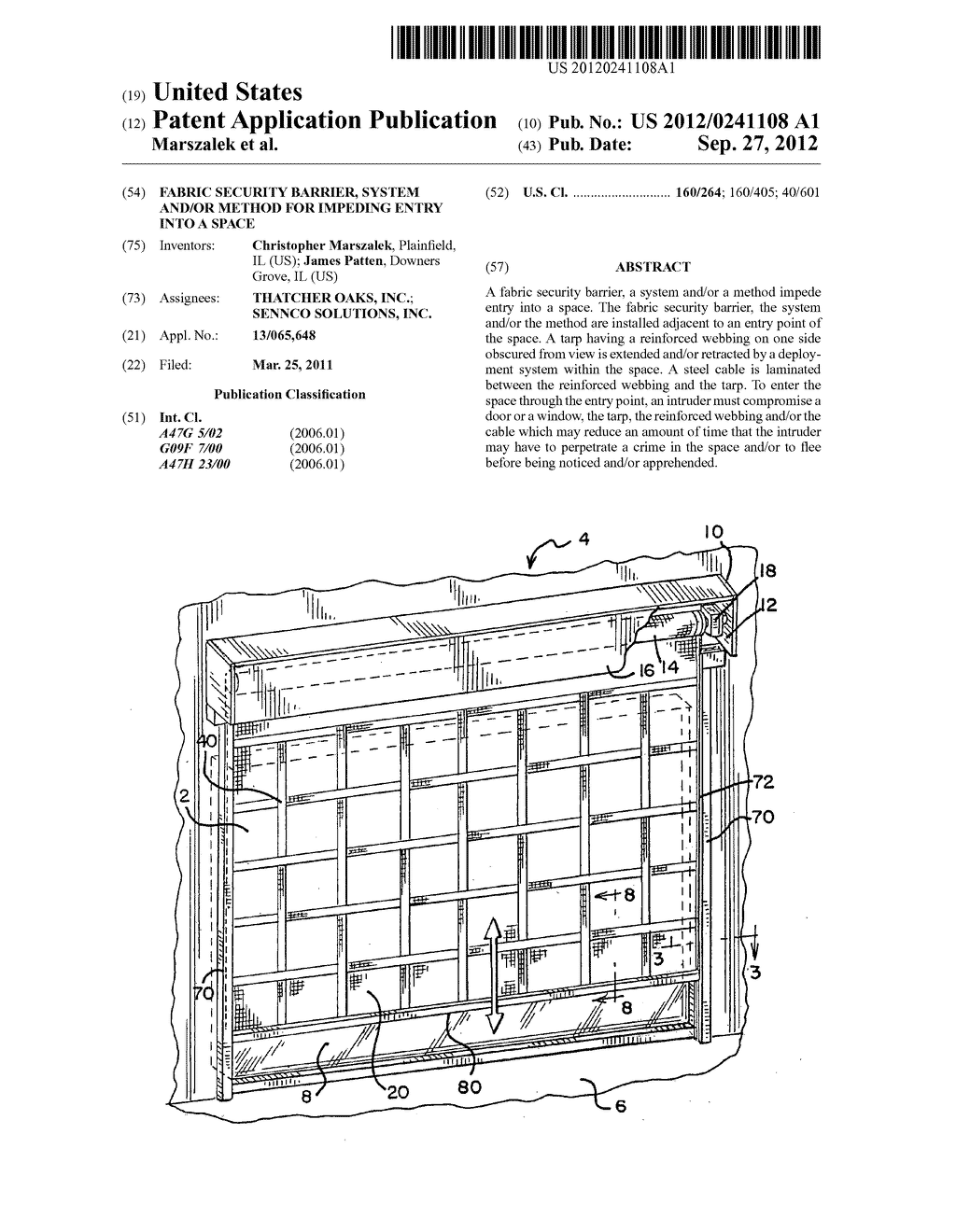 Fabric security barrier, system and/or method for impeding entry into a     space - diagram, schematic, and image 01