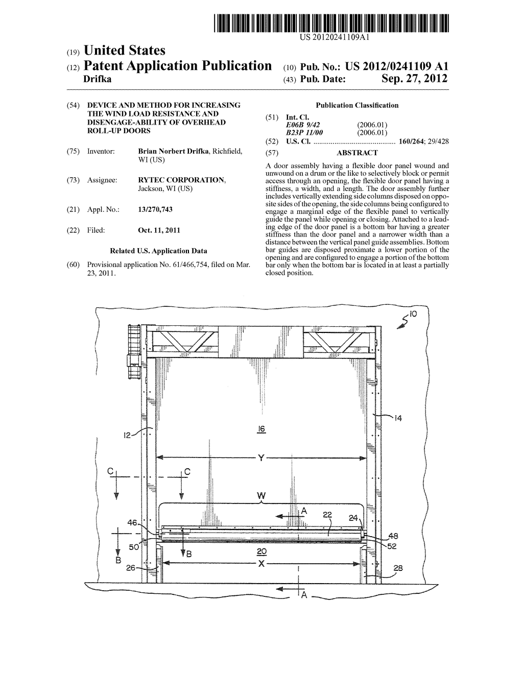 DEVICE AND METHOD FOR INCREASING THE WIND LOAD RESISTANCE AND     DISENGAGE-ABILITY OF OVERHEAD ROLL-UP DOORS - diagram, schematic, and image 01