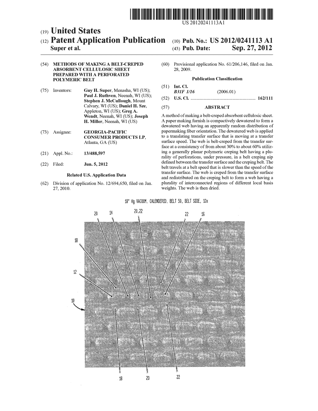 Methods of Making a Belt-Creped Absorbent Cellulosic Sheet Prepared with a     Perforated Polymeric Belt - diagram, schematic, and image 01