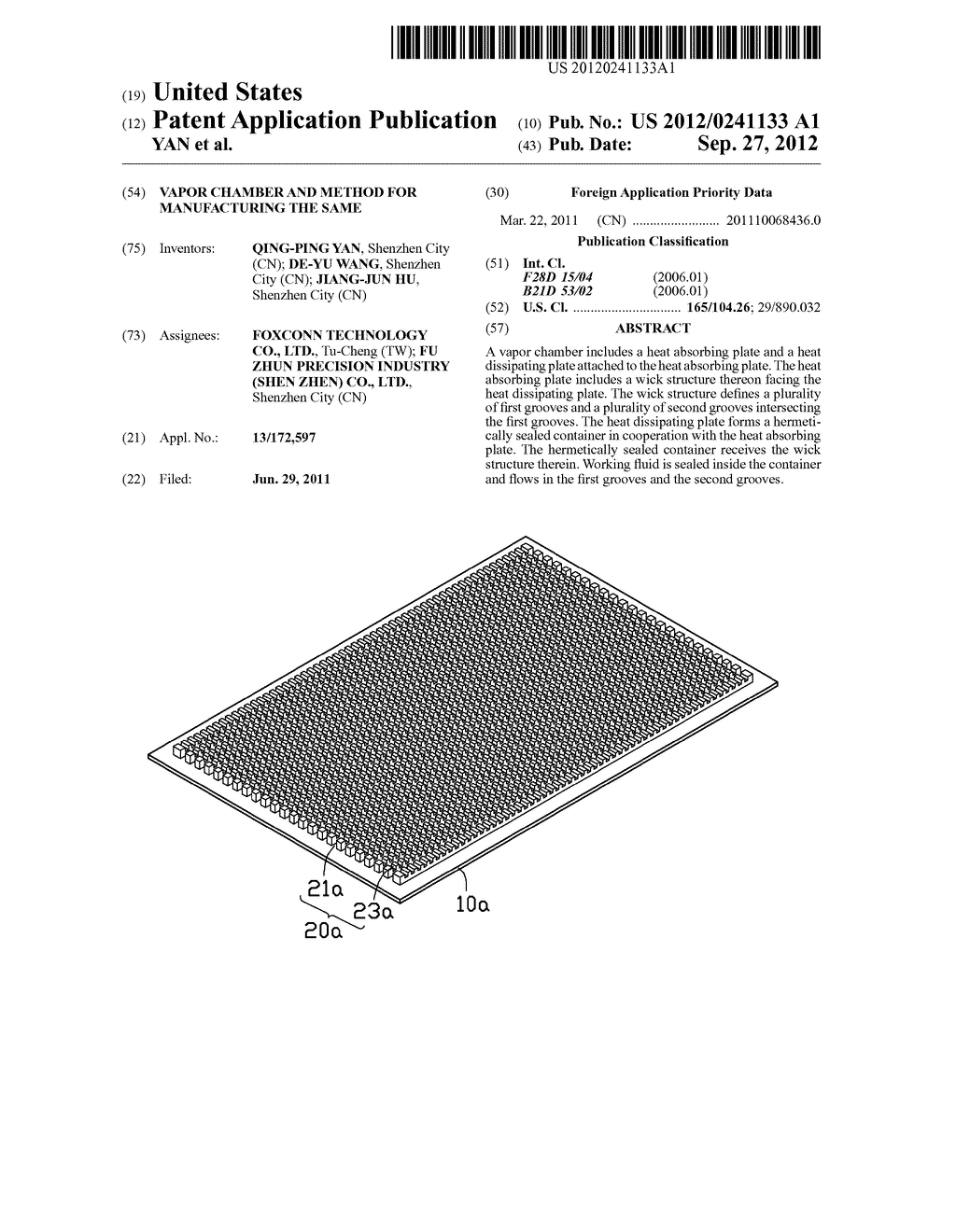 VAPOR CHAMBER AND METHOD FOR MANUFACTURING THE SAME - diagram, schematic, and image 01