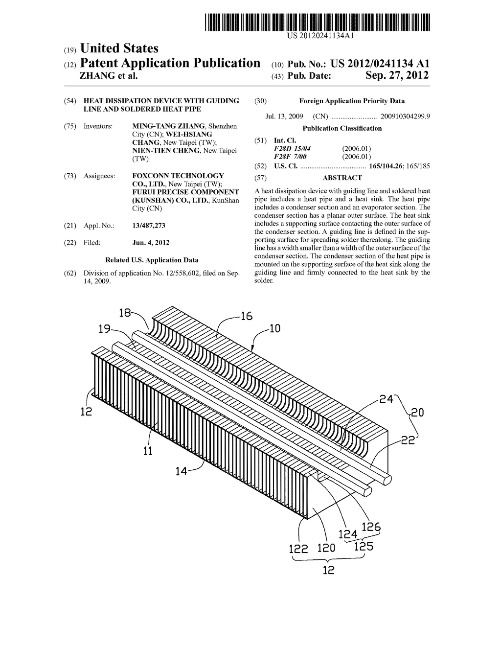 HEAT DISSIPATION DEVICE WITH GUIDING LINE AND SOLDERED HEAT PIPE - diagram, schematic, and image 01