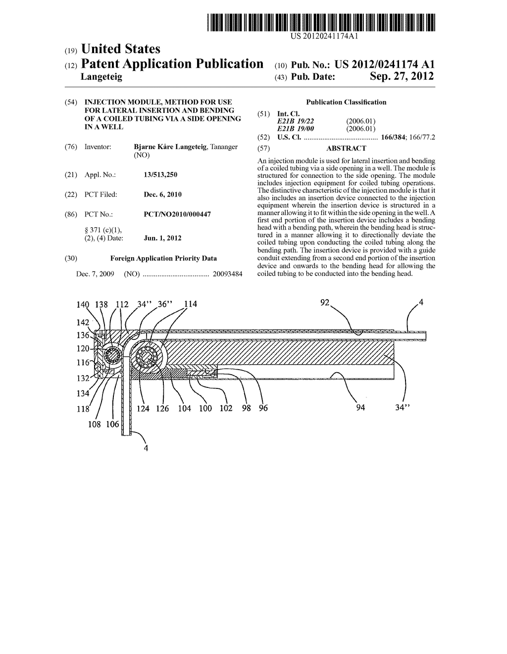 INJECTION MODULE, METHOD FOR USE FOR LATERAL INSERTION AND BENDING OF A     COILED TUBING VIA A SIDE OPENING IN A WELL - diagram, schematic, and image 01