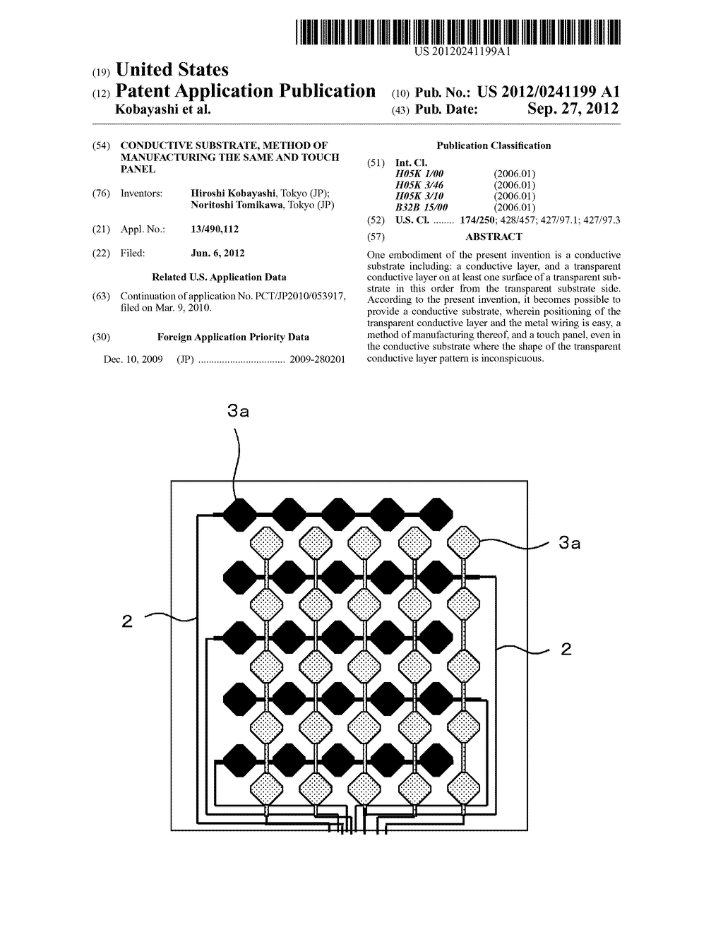 CONDUCTIVE SUBSTRATE, METHOD OF MANUFACTURING THE SAME AND TOUCH PANEL - diagram, schematic, and image 01