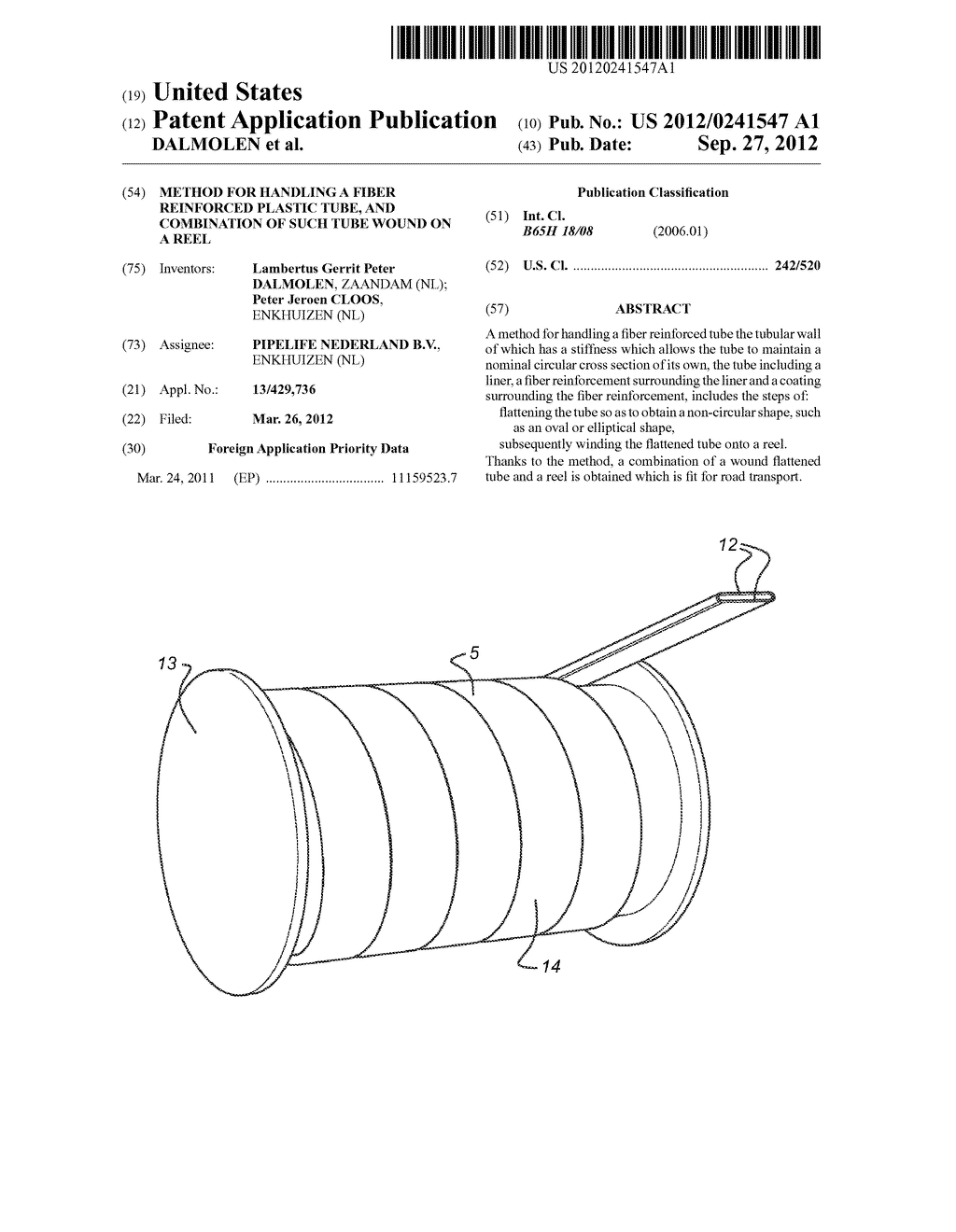 METHOD FOR HANDLING A FIBER REINFORCED PLASTIC TUBE, AND COMBINATION OF     SUCH TUBE WOUND ON A REEL - diagram, schematic, and image 01