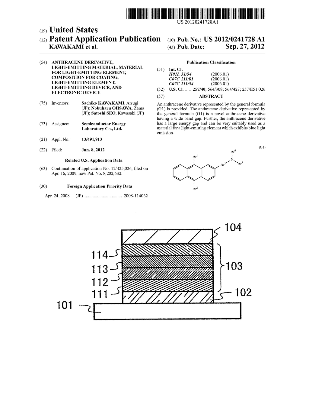Anthracene Derivative, Light-Emitting Material, Material for     Light-Emitting Element, Composition for Coating, Light-Emitting Element,     Light-Emitting Device, and Electronic Device - diagram, schematic, and image 01