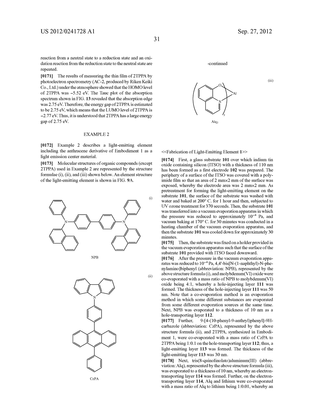 Anthracene Derivative, Light-Emitting Material, Material for     Light-Emitting Element, Composition for Coating, Light-Emitting Element,     Light-Emitting Device, and Electronic Device - diagram, schematic, and image 53