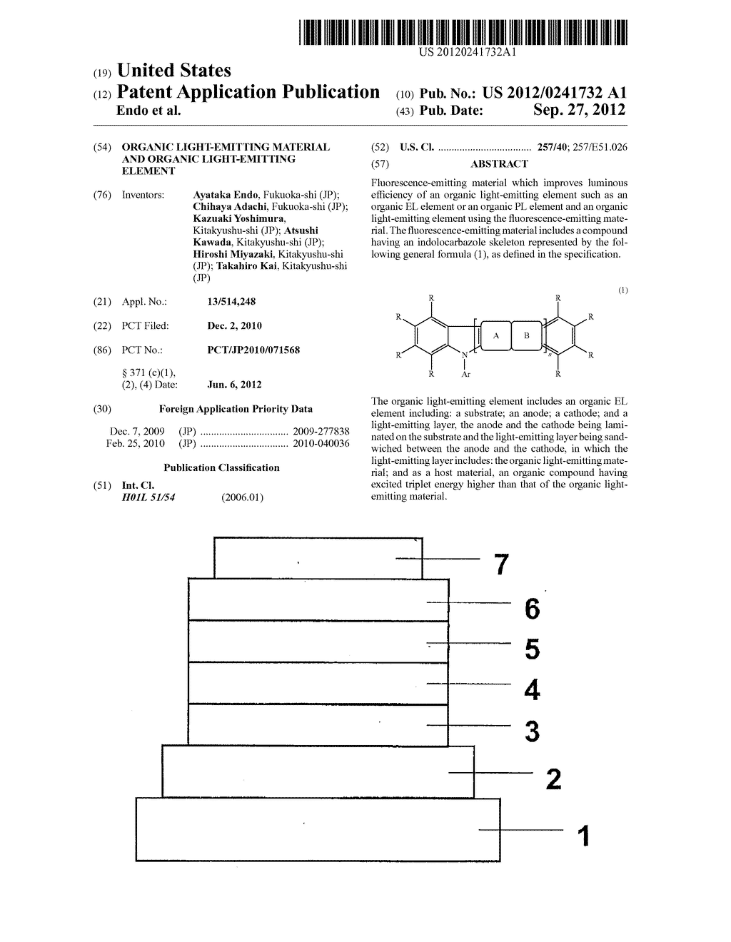 ORGANIC LIGHT-EMITTING MATERIAL AND ORGANIC LIGHT-EMITTING ELEMENT - diagram, schematic, and image 01
