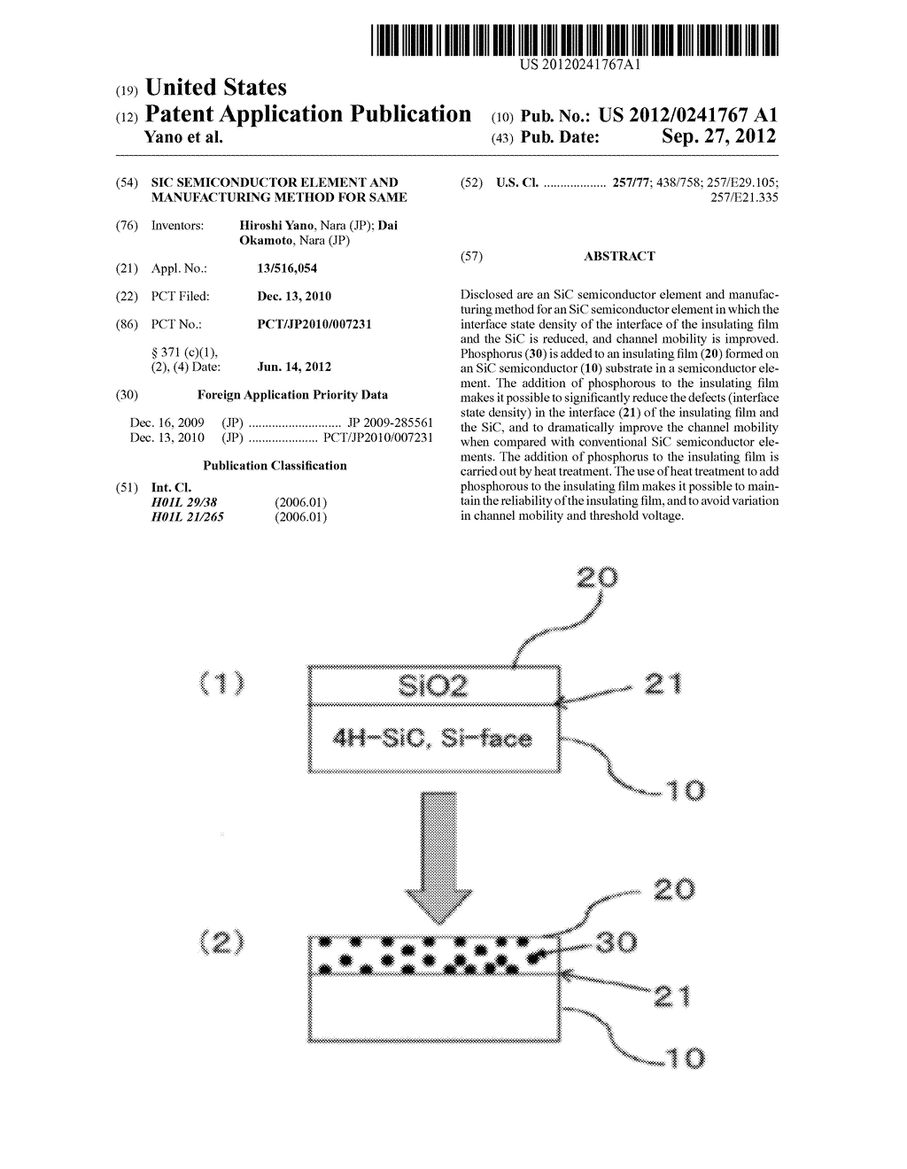 SIC SEMICONDUCTOR ELEMENT AND MANUFACTURING METHOD FOR SAME - diagram, schematic, and image 01
