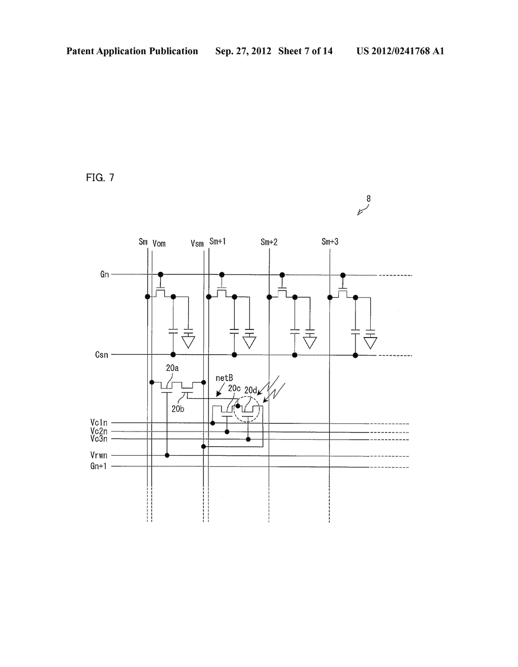 OPTICAL SENSOR CIRCUIT, DISPLAY PANEL, DISPLAY DEVICE, AND METHOD FOR     DRIVING AN OPTICAL SENSOR CIRCUIT - diagram, schematic, and image 08