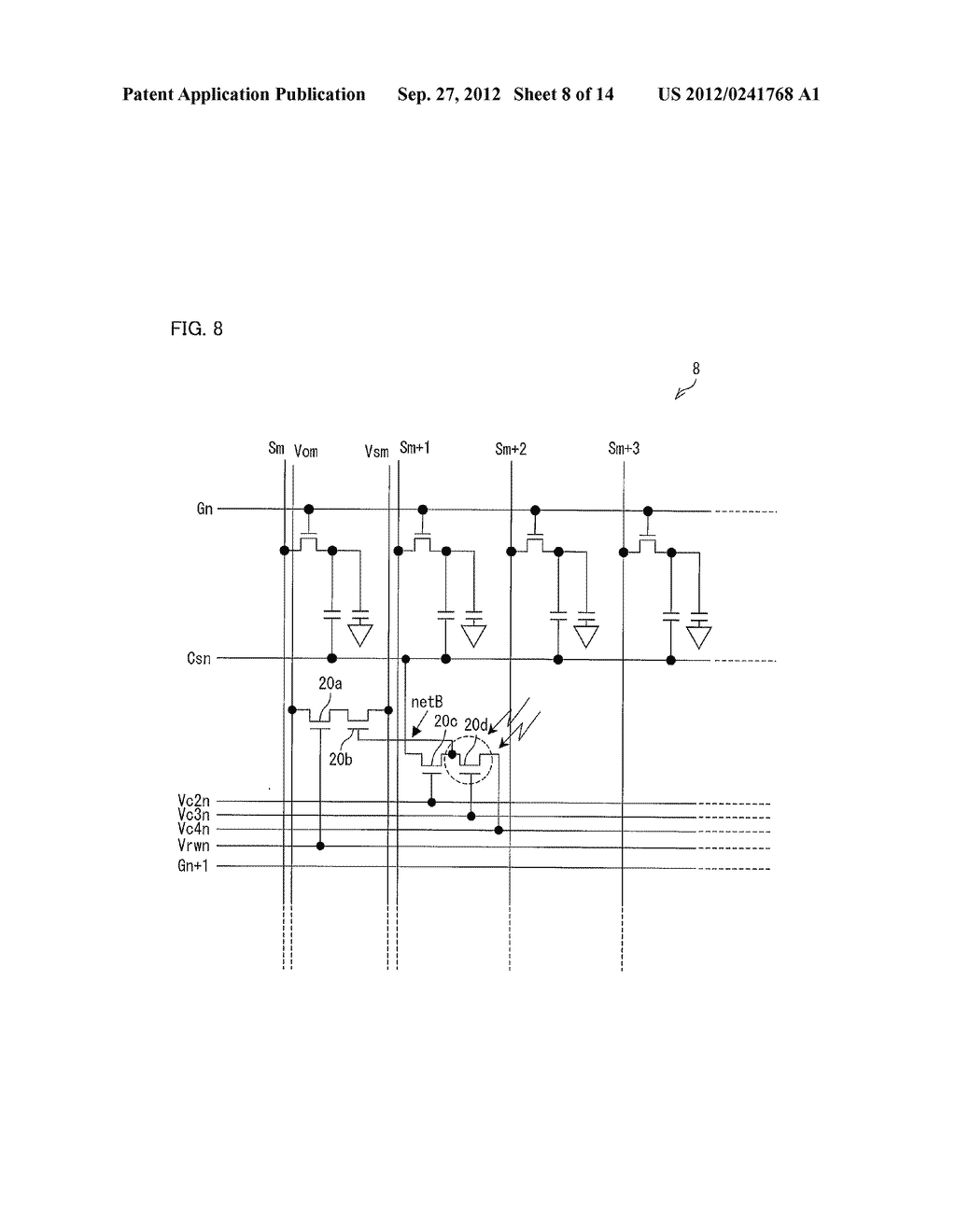 OPTICAL SENSOR CIRCUIT, DISPLAY PANEL, DISPLAY DEVICE, AND METHOD FOR     DRIVING AN OPTICAL SENSOR CIRCUIT - diagram, schematic, and image 09
