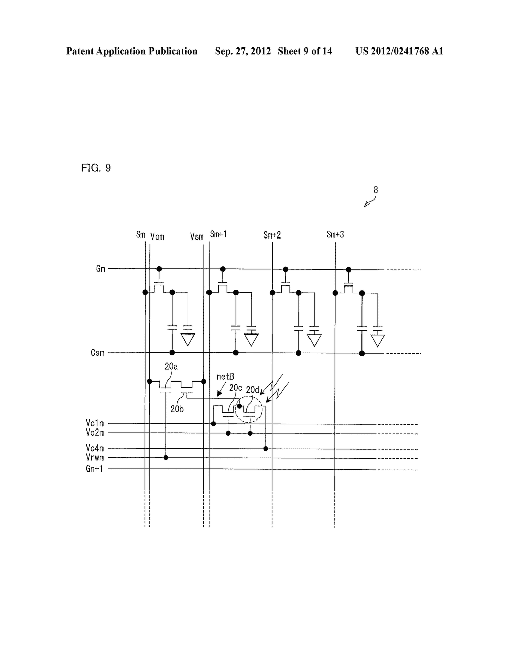 OPTICAL SENSOR CIRCUIT, DISPLAY PANEL, DISPLAY DEVICE, AND METHOD FOR     DRIVING AN OPTICAL SENSOR CIRCUIT - diagram, schematic, and image 10